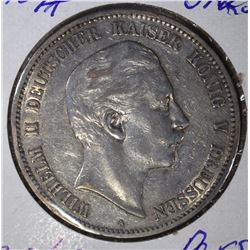 1907 A SILVER 5 MARKS PRUSSIA