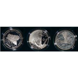 1994 VETERANS 3 pc COMMEM PROOF SILVER $1 SET