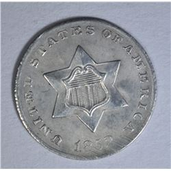 1852 3 CENT SILVER CH AU