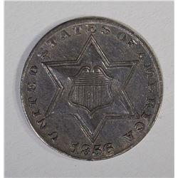 1856 THREE CENT SILVER  CH BU