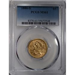 1886-S $5 GOLD LIBLERTY HEAD PCGS MS61