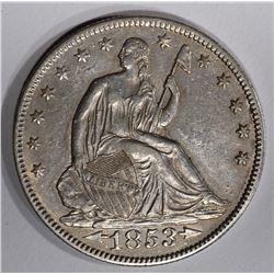 1853 SEATED LIBERTY ARROWS AN RAYS HALF DOLLAR  AU