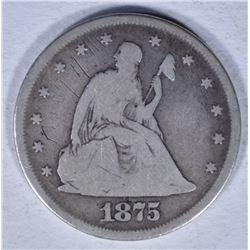 1875 20 CENT VG MARKS OBV.