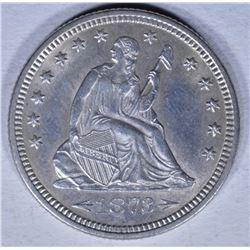 1873-D SEATED LIBERTY QUARTER BU