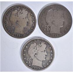 1897, 99 & 99-S VG BARBER HALF DOLLARS