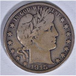 1915-D BARBER HALF DOLLAR, FINE