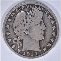 1914-S BARBER HALF DOLLAR, FINE