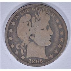 1896-O BARBER HALF DOLLAR, G/VG