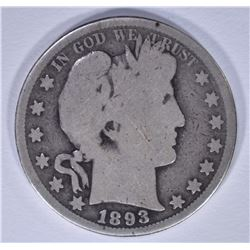 1893-S BARBER HALF DOLLAR, GOOD