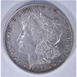 1892-S MORGAN DOLLAR, XF/AU cleaned