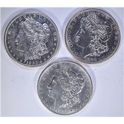 1880-S , 83 & 97 MORGAN DOLLARS, CH BU