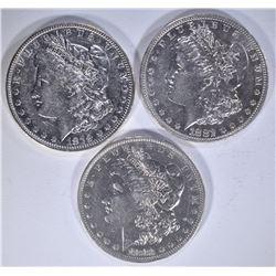 1879-O, 82-O & 1883-O AU/BU MORGAN DOLLARS