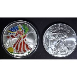 2000 & 03 COLORIZED AMERICAN SILVER EAGLES