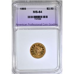 1893 $2.50 GOLD LIBERTY, APCG CH/GEM BU