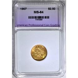 1907 $2.50 GOLD LIBERTY, APCG CH/GEM BU