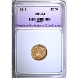 1911 $2.50 GOLD INDIAN, APCG, CH/GEM BU