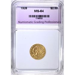 1928 $2.50 GOLD INDIAN, NGP CH/GEM BU