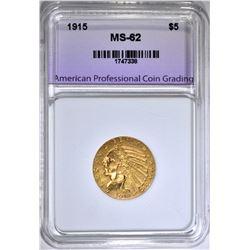 1915 $5.00 GOLD INDIAN, APCG  BU