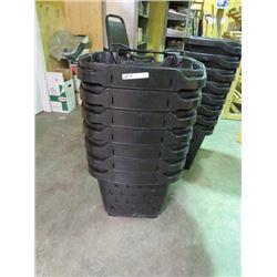 7 BLACK SHOPPING BASKETS W/WHEELS
