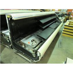 """OPEN FRONT MEAT AND DELI DISPLAY COOLER, END UNIT, W/ SHELVING, 12'X3'4""""X4'6"""", IN WORKING ORDER"""