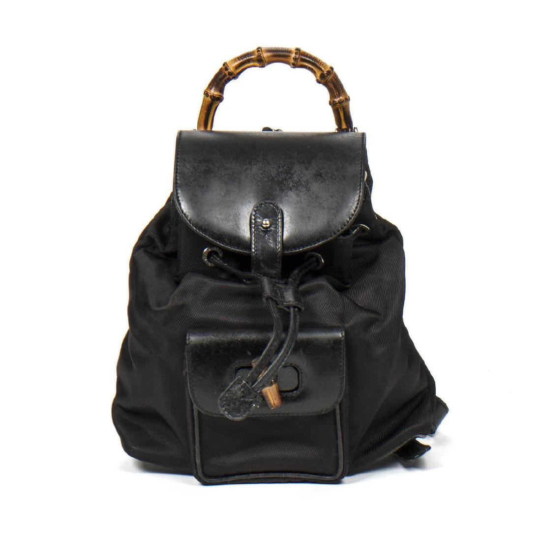 8f867bba8 Image 1 : GUCCI Bamboo Backpack in Black Nylon Canvas/Smooth ...