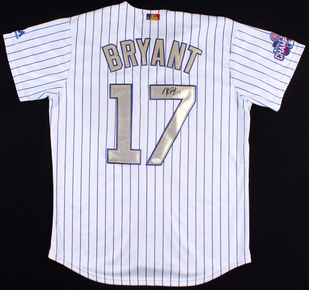 release date 788ca 713f7 Kris Bryant Signed Cubs Jersey With 2016 World Series Patch ...