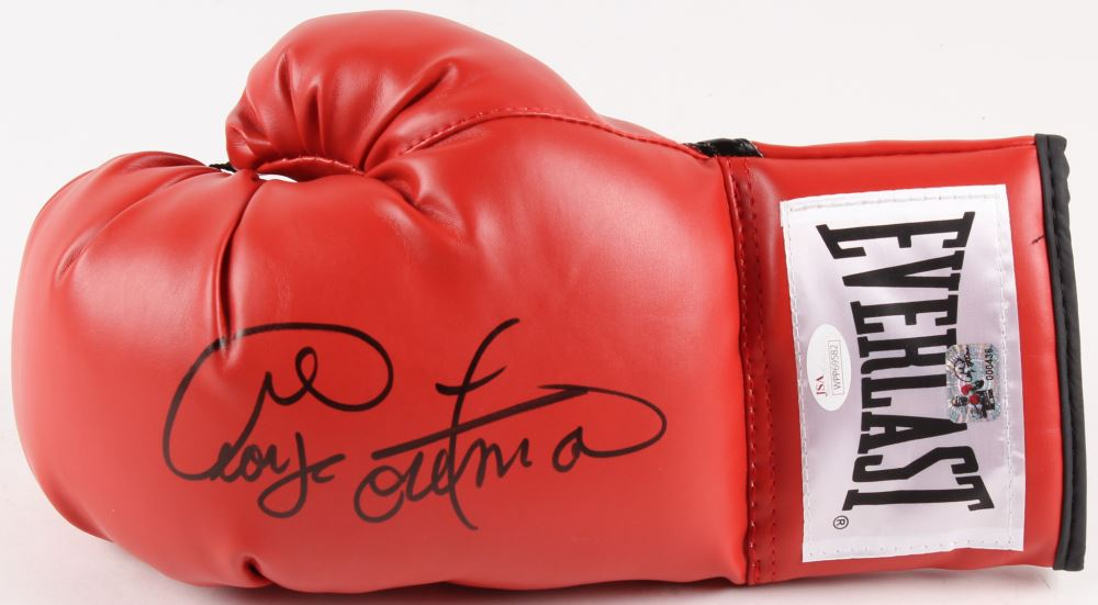 Autographed//Signed GEORGE FOREMAN Red Everlast Boxing Glove JSA COA Auto