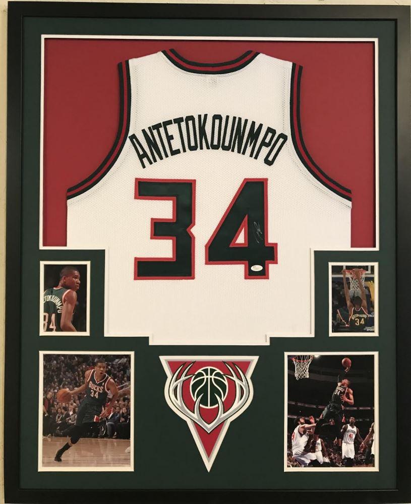 5897266c7 Image 1   Giannis Antetokounmpo Signed Bucks 34x42 Custom Framed Jersey (JSA  COA)