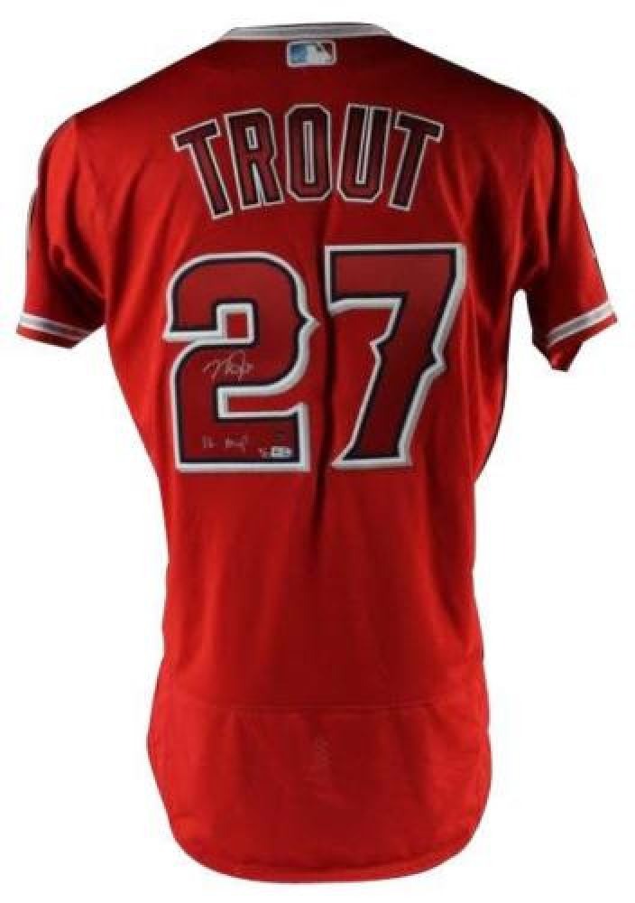 buy popular f7841 ae79a Mike Trout Signed LE Angels Jersey Inscribed