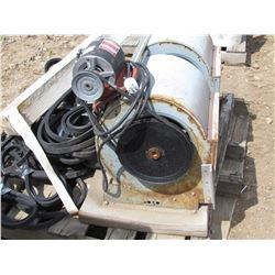 Pallet of various sized belts, & 2 furnace motors