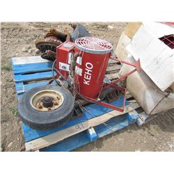 Pallet of Keho Aeration fan, 3pt hitch bar, 2 dolley wheels for tow truck