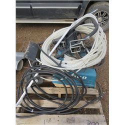 Pallet of Ford pressure washer, electrical cable, Pex pipe