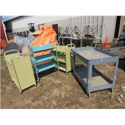 4 carts on castors, 3 metal, 1 plastic