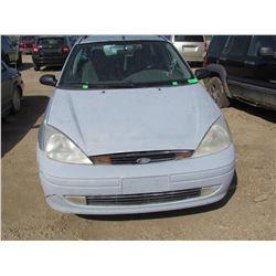 2001 Ford Focus, SK Reg, no keys, as is, VIN 1FAFP36361W164169
