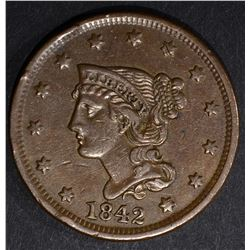 1842 LG. DATE LARGE CENT, XF/AU