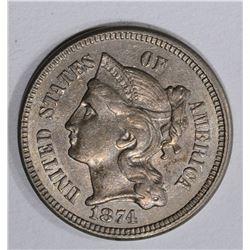 1874 3-CENT NICKEL, CH BU+