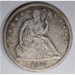 1863-S SEATED HALF DOLLAR, VF CIVIL WAR DATE
