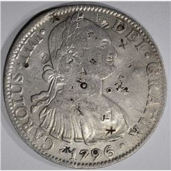 1796 MEXICO 8 REALES chopmarked