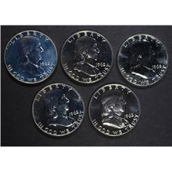 5-PROOF 1962 FRANKLIN HALF DOLLARS