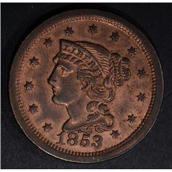 1853 LARGE CENT GEM BU RED
