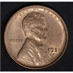 1921-S LINCOLN CENT  CH BU RED
