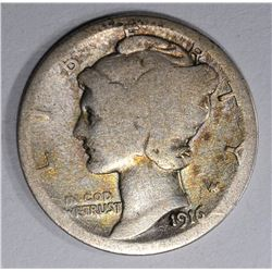 1916-D MERCURY DIME  GOOD+