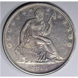 1861-O SEATED LIBERTY HALF DOLLAR  BU