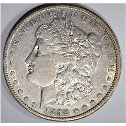 1892-CC MORGAN SILVER DOLLAR  AU