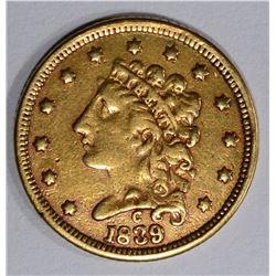 1839-C $2 1/2 GOLD  VF