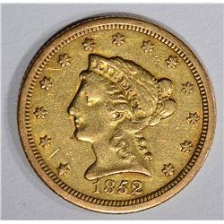 1852-O $2 1/2 GOLD LIBERTY HEAD  AU