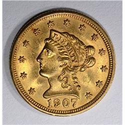 1907 $2 1/2 GOLD LIBERTY HEAD  GEM BU