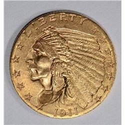 1911 $2 1/2 GOLD INDIAN HEAD  GEM BU