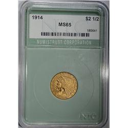 1914 $2 1/2 GOLD INDIAN HEAD NTC GEM BU