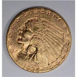 1925-D $2 1/2 GOLD INDIAN HEAD  GEM BU